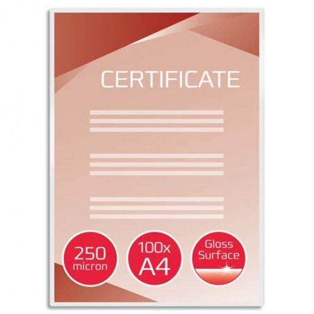 GBC P/100 POCH PLAST A4 250MIC IB586040