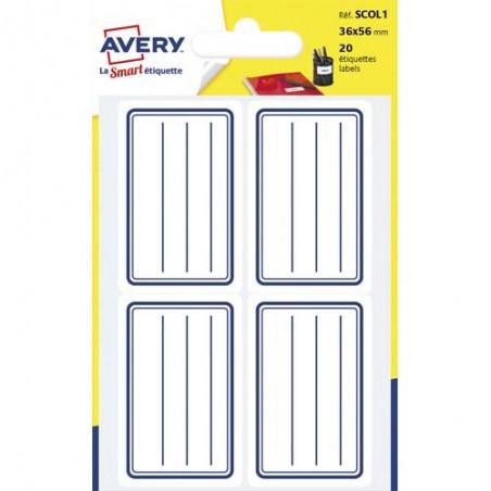 AVE S/20 ETIQ SCOL LIGNE 36X56 BL SCOL1